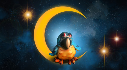 The starry night sky, on the moon sits an owl. Good night.