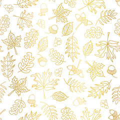 Gold foil autumn leaves seamless vector background. Golden abstract fall leaf shapes on white background. Elegant, luxurious pattern for scrap booking, banners, packaging, wedding, party, invite,