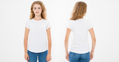 Front and back views of young caucasian girl woman in stylish t-shirt on white background. Mock up for design. Copy space. Template. Blank