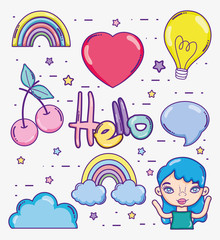 Hello card with cute cartoons