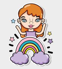 Girl and cartoons card