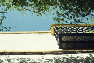 Imagen contrapicada detalles de flores, plantas, ventanas y balcón típicos de una calle céntrica estrecha de Sevilla, Andalucía. Tradicional español. Imagen diurna en verano con cielo azul despejado