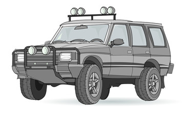 Fantasy illustration of car for rally on white background. Model of sport utility vehicle. Hand-drawn vector image.