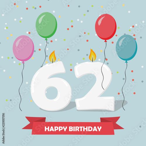 62 years selebration happy birthday greeting card with candles 62 years selebration happy birthday greeting card with candles confetti and balloons m4hsunfo