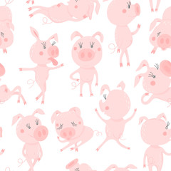 Seamless pattern with cute pigs.Symbol of the year in the Chinese calendar 2019. Piggy cartoon character. Vector illustration.