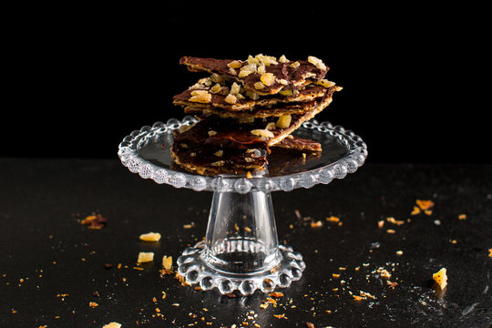 Passover Desserts, Matzo Toffee with Ginger Candy