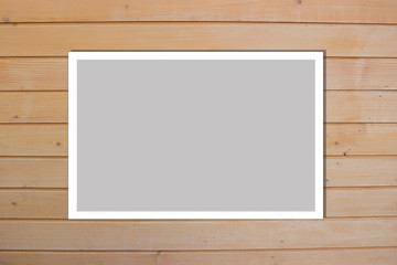 light style wood planks. Photo Frame Mock Up. Empty space for text design and message
