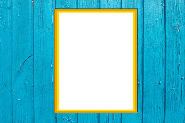 Retro style blue wood plank background. Photo Frame Mock Up. Empty space for text design and message