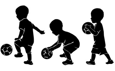 Silhouette little kid soccer player with ball
