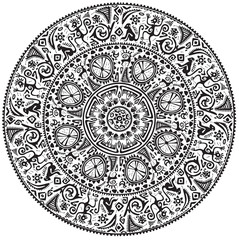 Monochrome round seamless ornament.
