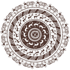 Round ornamental pattern with animal African style