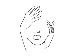 Line Drawing Art. Woman face with hand. Vector illustration. Concept for logo, card, banner, poster flyer Fototapete