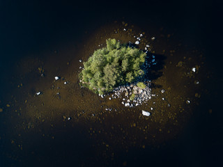 Aerial shot of small island