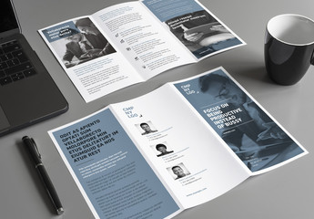 Business Trifold Brochure Layout with Blue Accents