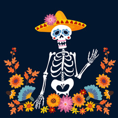 Dia de Los Muertos greeting card, invitation. Mexican Day of the Dead. Skeleton with sombrero hat and floral frame. Ornamental skull. Hand drawn vector illustration, background.
