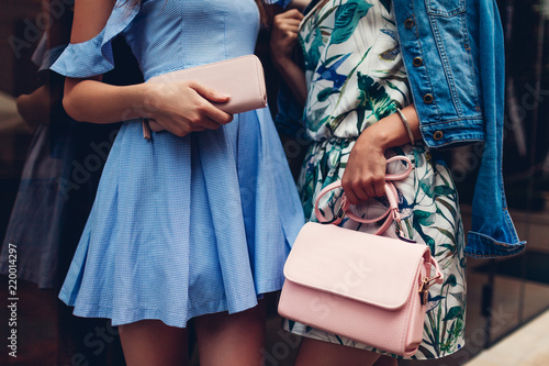 b32c5b82 Two young beautiful women wearing stylish clothes and accessories. Girls holding  purse and handbag.
