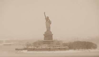 New York Harbor Landmarks in a snow storm