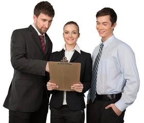 Fototapete - three professional discussing