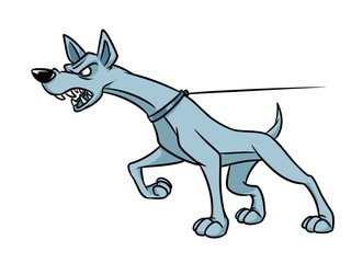 Aggression dog animal security anger cartoon illustration isolated image