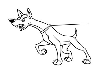 Aggression dog animal security anger cartoon illustration isolated image coloring page