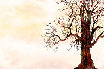 watercolor ombre wash landscape background texture with bare tree