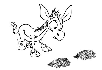 Buridanov donkey psychology term doubt cartoon illustration isolated image coloring page