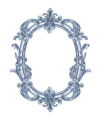 Silver oval frame of baroque, watercolor picture on white background, isolated.
