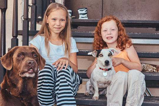 Portrait of two sisters sitting on the stairs with their dogs in a yard.