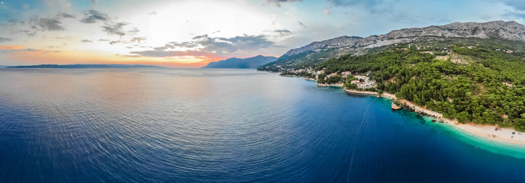Aerial view of Brela insummer, Croatia