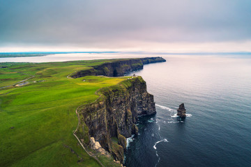 Aerial view of the scenic Cliffs of Moher in Ireland
