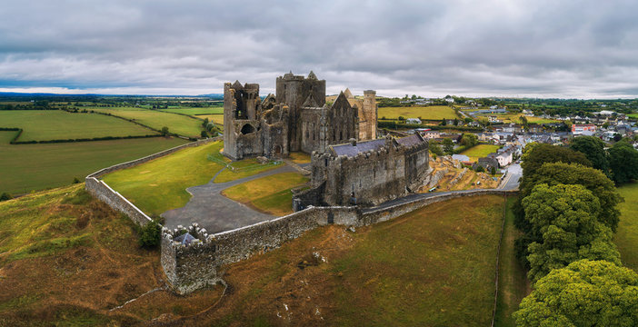 Aerial panorama of the Rock of Cashel in Ireland