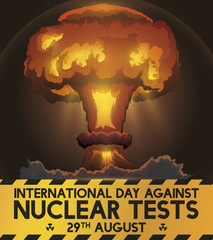 Mushroom Cloud and Awareness Ribbon for Day Against Nuclear Tests, Vector Illustration