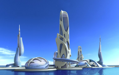Futuristic city architecture for fantasy and science fiction illustrations..