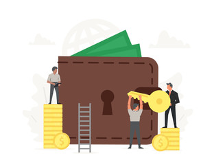 Large wallet and coins with small working people around it. Investment, saving money, concept of online payments, open purse illustration.