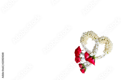 isolated of garland lei of flowers to worship of the virtues with