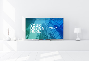 Smart TV on Console Mockup