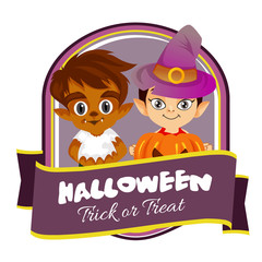 halloween badge with witch and wolf man cartoon