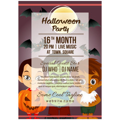 halloween party poster template with pumpkin costume