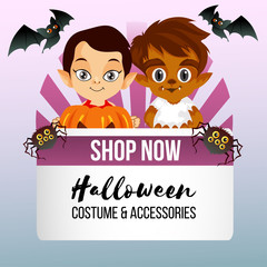 halloween theme shop with little witch costume