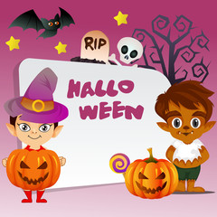 happy halloween trick or treat with little witch and wolf man