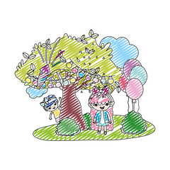 doodle girls children friends with tree and balloons