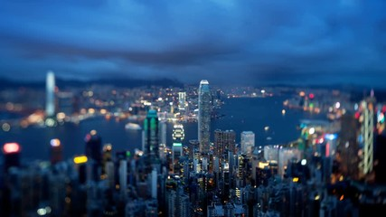 Fotomurales -  Hong Kong from Victoria peak, ltilt shift time lapse