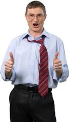 Portrait of Businessman Showing Thumbs Up with Loose Tie