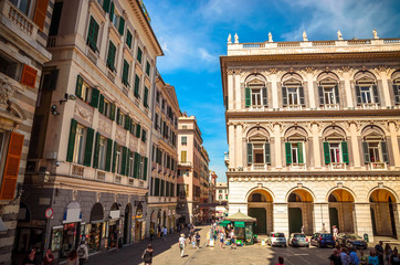 Fototapeta Beautiful cozy streets of Genoa in  summer day, Liguria, Italy