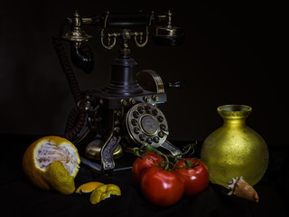 vintage telephone still life