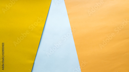 Wall mural Flat lay, top view office table desk. Workspace on pastel background