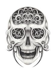 Art Vintage mix Skull Tattoo. Hand pencil drawing on paper.