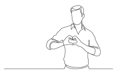 continuous line drawing of standing man showing love sign