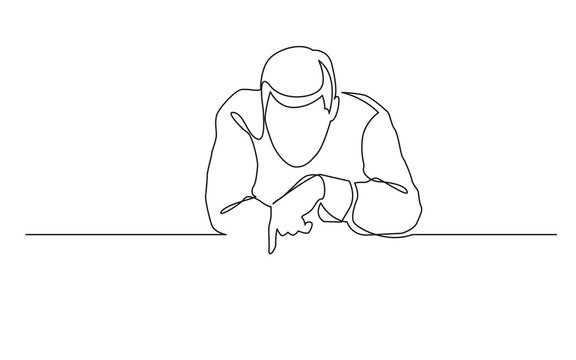 continuous line drawing of man pointing at blank banner
