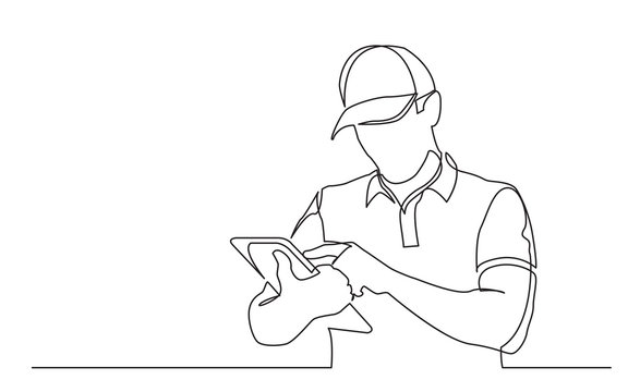 continuous line drawing of standing delivery guy filling order on tablet